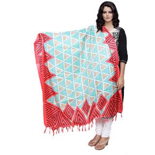Lifetime Women Bhagalpuri/Tussar Silk Digital Print Turquoise+Red Dupatta (80746-IW)