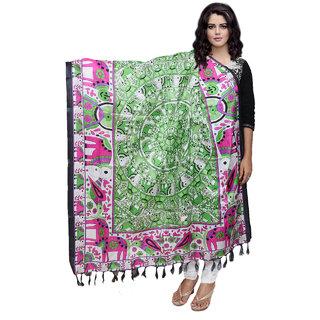 Lifetime Women Bhagalpuri/Tussar Silk Digital Print Green Dupatta (80753-IW)