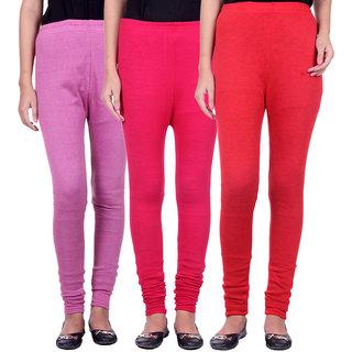 BelMarsh Woolen Lycra Legging - Pack of 3 (B-Pink Rani Red)