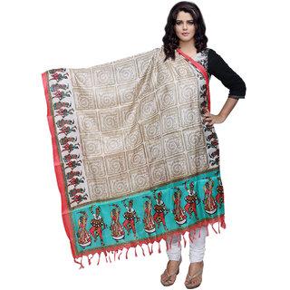 Lifetime Women Bhagalpuri/Tussar Silk Digital Print Cream Dupatta (80775-IW)