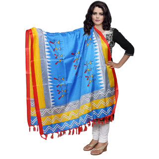 Lifetime Women Bhagalpuri/Tussar Silk Digital Print Blue Dupatta (80778-IW)