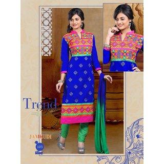 semi stitched pc cotton salwar kameez with dupatta
