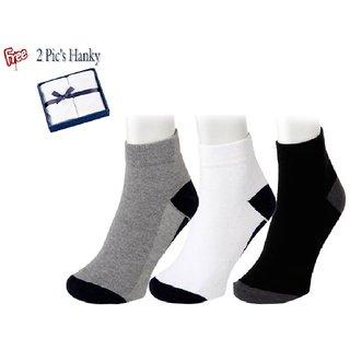 3 Pairs Comfort Ankle Socks - Free 2 Handkerchief