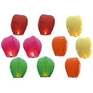 sky lanterns pack  of 10, mix