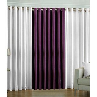 Fabbig White and Purple Crushed Window Curtain (Set of 3)