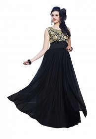florence clothing company Black Embroidered Gown Dress For Women