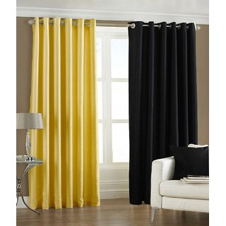Fabbig Yellow And Black Crushed Window Curtain (Set of 2)