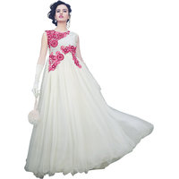 Florence White Net Shantoon Semi Stiched Gown (GW-04)