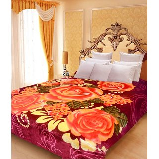 Akash Ganga Floral Double Bed Mink Blanket (BD21)