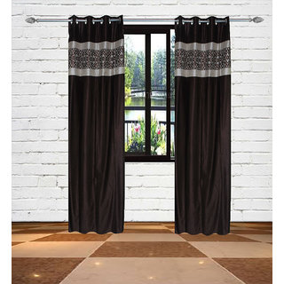 Gaurav Curtains Crush with Panel Brown Polyster curtains 2pcs