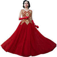 Florence Maroon Net  Shantoon Semi Stitched Gown