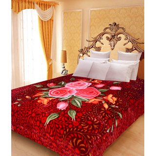 Akash Ganga Floral Double Bed Mink Blanket (BD22)