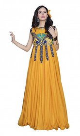 florence clothing company Yellow Embroidered Gown Dress For Women