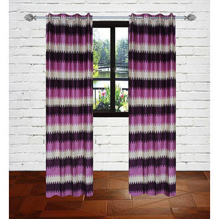 Gaurav Curtains Purple Knitting Emboss Lehar Curtains 2 pcs