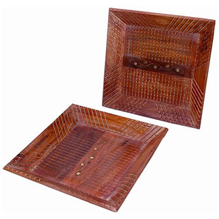 Onlineshoppee Wooden Fancy Design Serving Tray Size-lxbxh-14x9x1 Inch Set Of 2