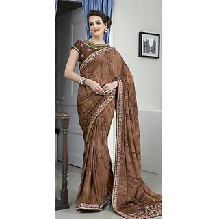Brown Crepe Partywear Saree with Black Embroidered Blouse