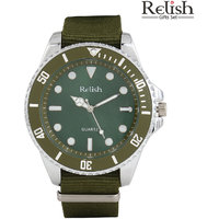 Relish Round Dial Green Synthetic Strap Quartz Watch For Men