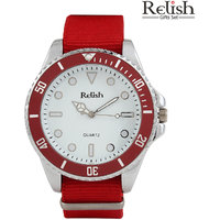 Relish Round Dial Red Synthetic Strap Quartz Watch For Men