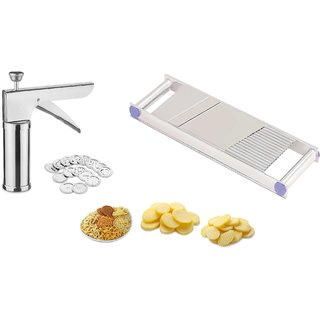 Patidar Polymers Kitchen Press Plus 2 in 1 Potato Slicer Combo