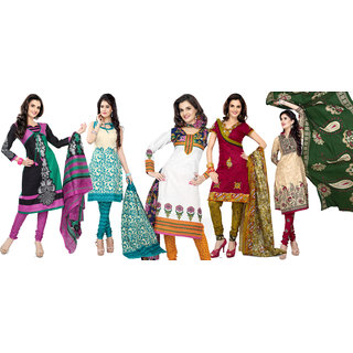 Florence Multi Color Combo Pack Of 5 Cotton Suit (SBMonikabediPack of 52) (Unstitched)