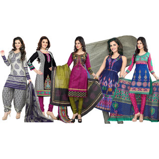 Florence Multi Color Combo Pack Of 5 Cotton Suit (SBMonikabediPack of 53)
