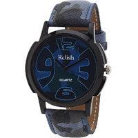 Relish Round Dial Multicolor Leather Strap Quartz Watch