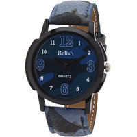 Relish Round Dial Multicolor Leather Strap Quartz Watch