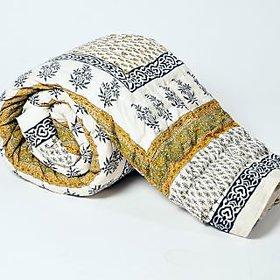 Krg Jaipuri Floral Print Pure Cotton Double Bed Quilt Jaipuri Razai
