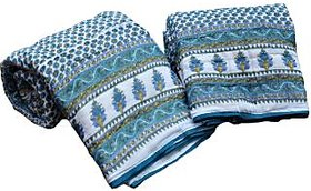 Krg Jaipuri Single Bed Quilt Bluish Green Floral Print Cotton Razai Pair Set of Two
