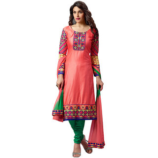Inddus Women Pink  Green Unstitched Cotton Blend Dress Material