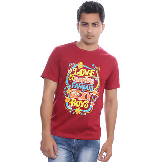 Fabilano Mens Cotton Round Neck Maroon Graphics T-Shirt rng04