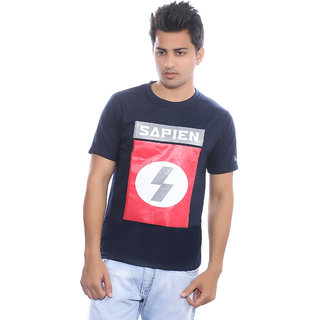 Fabilano Mens Cotton Round Neck Navy Graphics T-Shirt rng01