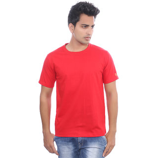 Fabilano Mens Round Neck Red T-Shirt