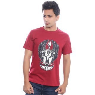 Fabilano Mens Cotton Round Neck Maroon Graphics T-Shirt rng06