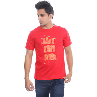 Fabilano Mens Cotton Round Neck Red Graphics T-Shirt rng07