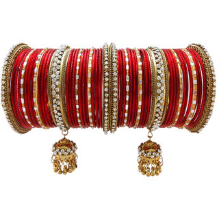 My Design Red bridal chura bangles