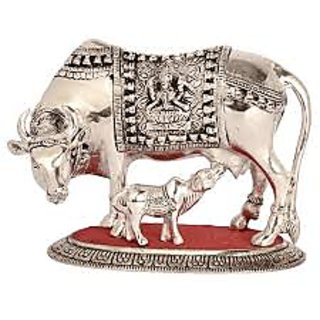 Shakti White Metal Cow N CalF For Spritual Peace And Hapiness