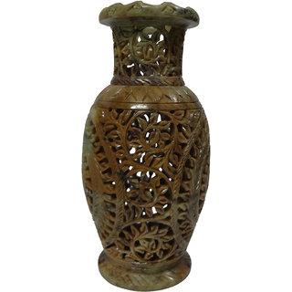 Avinash Handicrafts Stone Flower Vase  8 inch Carved
