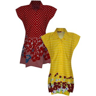 Jazzup Printed Pack Of 2 Girls Frocks