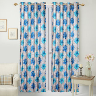 Fresh From Loom Polyester Door Curtain- Set of two (791-Samrat-52-Blue-2pc-7feet)