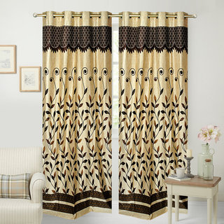 Fresh From Loom Polyester Door Curtain- Set of two (778-Old-Panel-Brown-7feet-2pc)