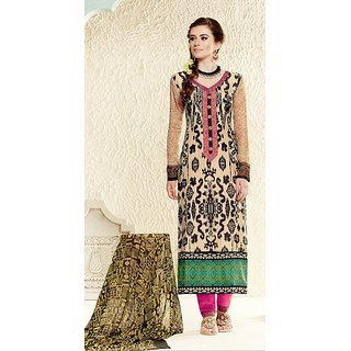 Cream Georgette Semistitched Embroidered Straight Salwar Kameez