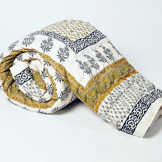 Marwl Jaipuri Floral Print Pure Cotton Double Bed Quilt Jaipuri Razai