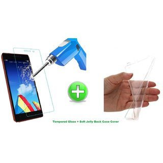 Ultrathin Soft Jelly Back Cover + Tempered Glass For INFOCUS M330 Transparent