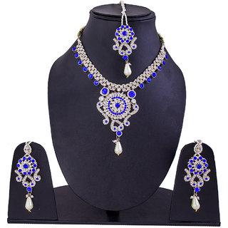 Jewelroom Blue Silver Diamond Neckles