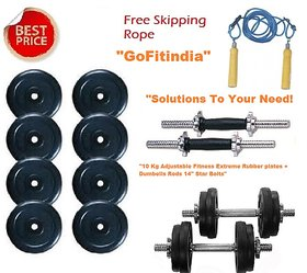 10 Kg Adjustable Fitness Extreme Rubber plates + Dumbells Rods 14