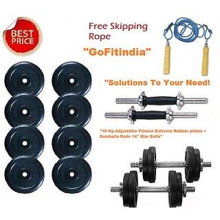 10 Kg Adjustable Fitness Extreme Rubber plates + Dumbells Rods 14