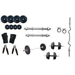 BODY MAXX 20 Kg Rubber Plates + 3 Ft Curl Bar + Dumbells Rods Home Gym Set