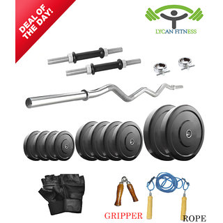 Lycan 20 Kg Home Gym + 2 Pc Dumbbells Rod's +3 Feet Curl Bar+Glove+Rope+Gripper