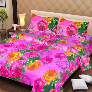 Akash Ganga Pink Cotton Double Bedsheet with 2 Pillow Covers (AG1267)